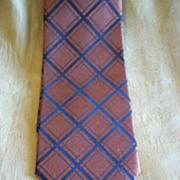 May D&F Brown and Black Crosshatch Diamond Silk Tie