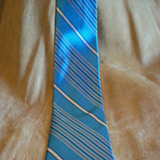 May D&F Turquoise and Grey Striped Rayon Tie