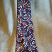 Orange, Rust, and Burgundy Paisley Tie