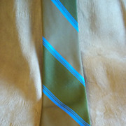 Superba Olive, Brown, and Blue Striped Polyester Tie