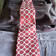 Red Tie with White Cross Hatch Diamond Pattern