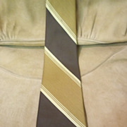 Superba Brown, Tan, and Mustard Diagonal Striped Tie
