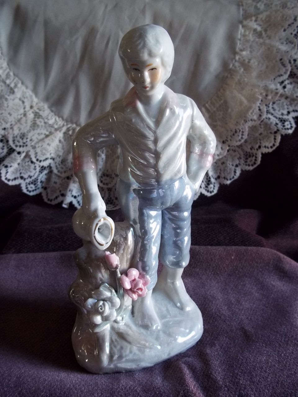 Mother of Pearl Style Boy Watering Flowers