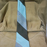 Superba Olive, Pastel Green, Lt. Blue and Gold Diagonal Stripe Simulated Silk Tie
