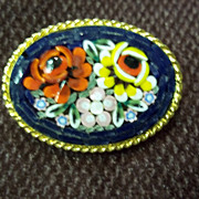 SOLD Mosaic Glass Floral Gold Tone Pin / Brooch
