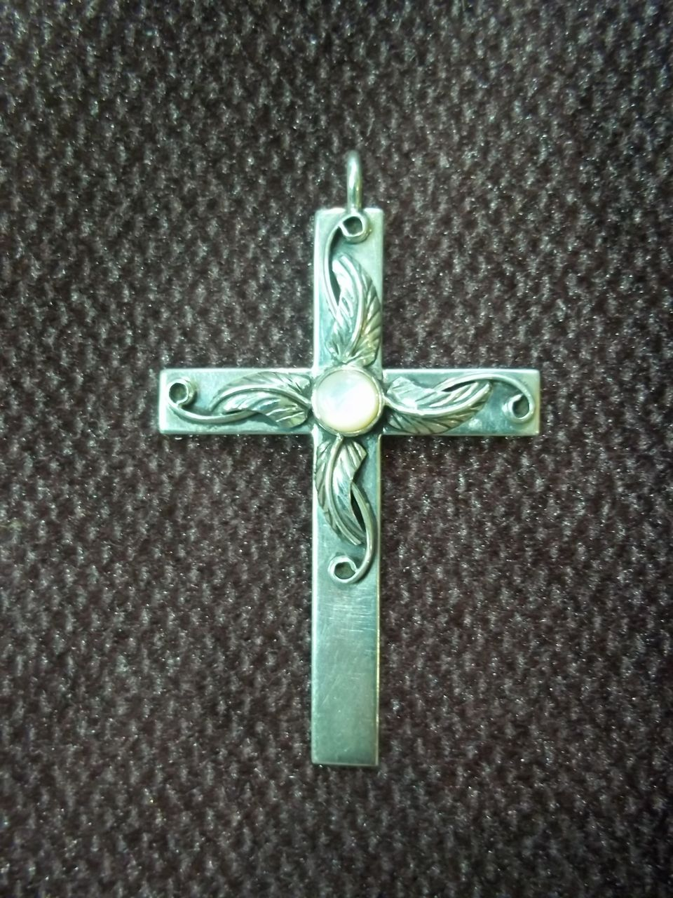 Sterling Silver Cross w/ Center Mother of Pearl Stone