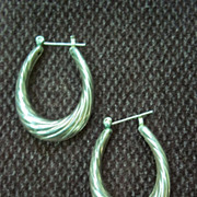 Silver Tone Pierced Hoop Earrings