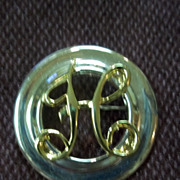 "Silver and Gold Tone Round ""H"" Pin"