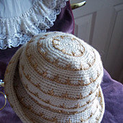 1940's Hand Crocheted Ivory and Gold Wool Ladies' Hat
