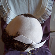 Vintage Ladies Wool Felt and Guinea Feather Bonnet Hat