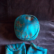 Blue Satin Oriental Pattern 3 Piece Coin Purse Set