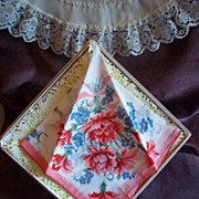 Burmel All Cotton Vintage Floral Print Handkerchief / Hankie