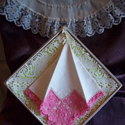 Vintage White w/ Pink Lace Handkerchief / Hankie