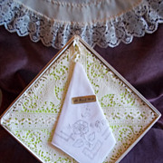 Hand Stitched Embroidered Floral Pattern Handkerchief / Hankie