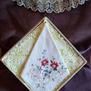 Cross Stitched Floral Pattern Vintage Handkerchief / Hankie