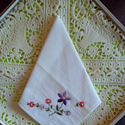 Vintage Floral Embroidered Handkerchief / Hankie