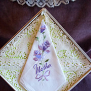Embroidered 'Mother' Purple Floral Pattern Handkerchief / Hankie