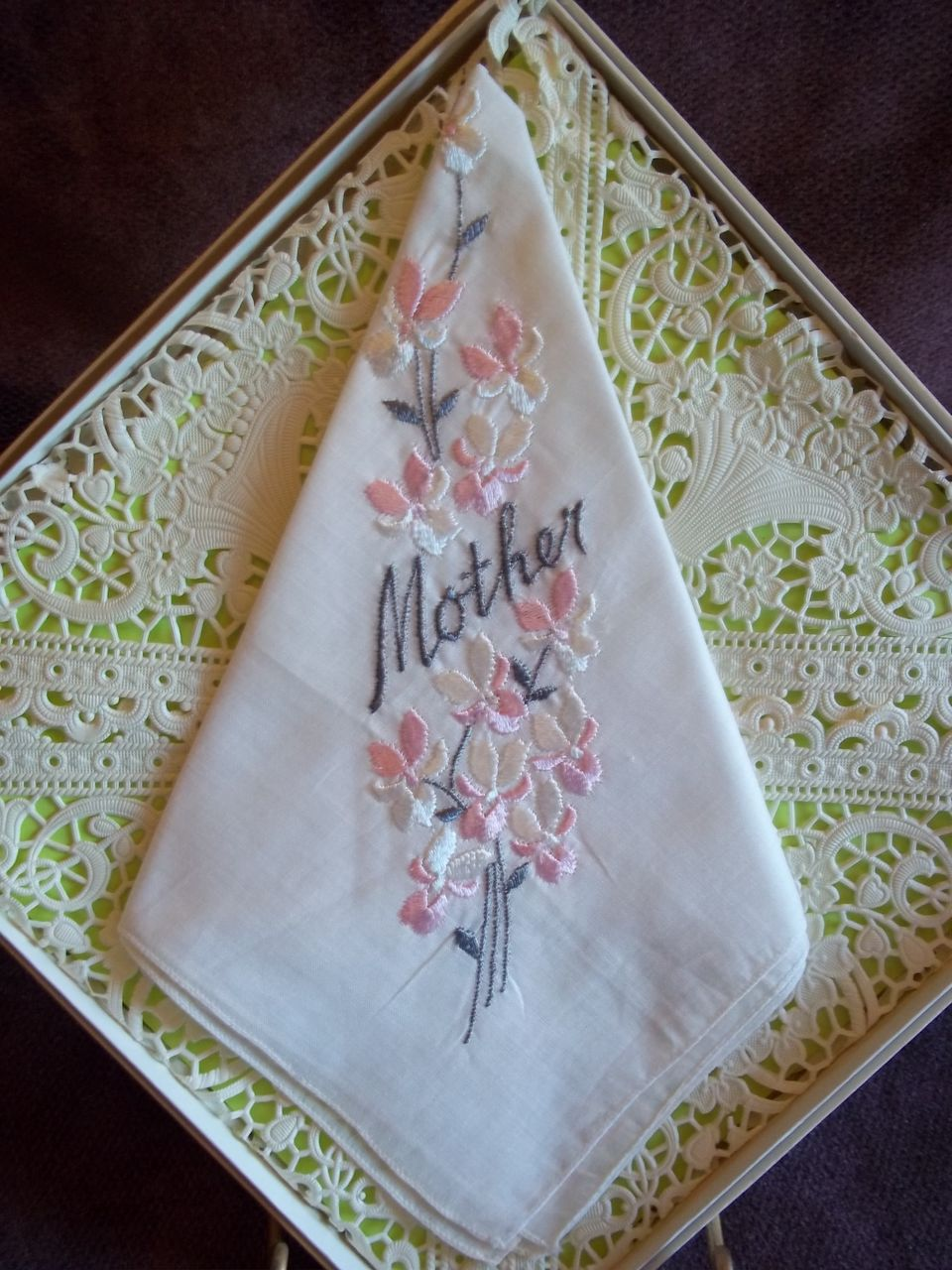 Embroidered 'Mother' Floral Pattern Handkerchief / Hankie