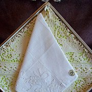 Vintage Nasharr White Embroidered Handkerchief / Hankie
