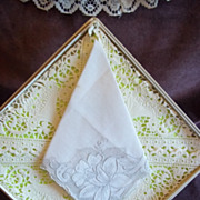 Vintage White Handkerchief with Embroidered Floral Pattern