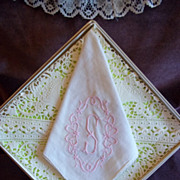 Vintage Embroidered Handkerchief / Hankie w/ Pink Embroidered Initial
