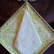 White Embroidered Hankderchief/ Hankie w/ Shamrock Pattern
