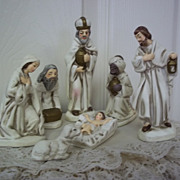 Ceramic Nativity Scene: 7 Piece Handpainted Set