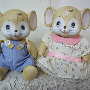 Adorable Girl and Boy Porcelain Mice