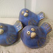 SOLD Set of 3 Ceramic Blue Birds