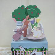 Vintage Easter Bunny Wood Music Box