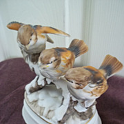 SALE PENDING Porcelain Birds on a Snowy Branch ' Winter Wonderland ' Music Box by Towle