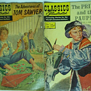 Classics Illustrated Comics Mark Twain Pair: The Adventures of Tom Sawyer AND The Prince and t