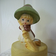 Ceramic Peasant Girl Music Box: Theme From Dr. Zhivago