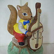 Ceramic Squirrel Celloist Music Box: Talk to the Animals