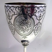 Antique 6 3/4 inch tall 1862 London STERLING Silver Goblet