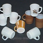 SOLD 6 Fire King -Kimberly -Ranger -Peach Luster -Stacking Mugs - 2 Federal D-Handle -