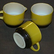 Fire King Meadow Green Stackable Creamer - Sugar And Coffee Cup