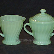 Fire King Jadite Jadeite Shell Footed Creamer - Sugar With Lid ~MINT~