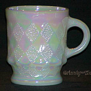 1 Fire King White Iridescent Aurora Pearl Luster Kimberly Mug - Cup ~MINT~