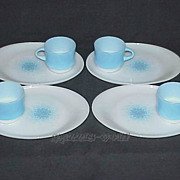 Fire King Blue Mosaic Snack Sets 4 Cups And 4 Trays/Plates ~MINT~
