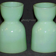 2 Fire King Jadeite Jadite Double Sided Egg Cups From The Breakfast Set ~MINT~