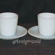 2 Fire King White W215 Cups - W295 Saucers Circa 1940 Restaurant Ware ~RARE~