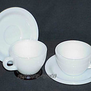 2 Sets Fire King White Restaurant Ware W299 Cups - W295 Saucers