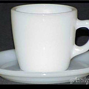 Fire King White W215 Cup - W295 Saucer Extra Heavy Restaurant Ware ~MINT