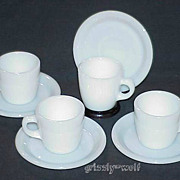 4 Fire King White W215 Cups - W295 Saucers Circa 1940 Restaurant Ware ~RARE~