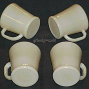 "Fire King Dark Ivory ""Transition"" Flat Bottom D-Handle Mugs 1940~ALL BLOCK LETTERING"