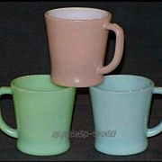 SOLD Fire King Turquoise Blue - Mauve Taupe - Jadeite D-Handle Mugs
