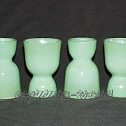 4 Fire King Jadeite Jadite Double Sided Egg Cups From The Breakfast Set ~MINT~