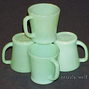 SOLD 4 Fire King Jadeite G1212 - 8 oz. D-Handle Mugs - Circa 40 - 50 - 60 Jadite Cups
