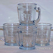 SOLD 4 Rare Fire King Philbe Sapphire Blue Flat Bottom D-Handle Mugs Circa 1940